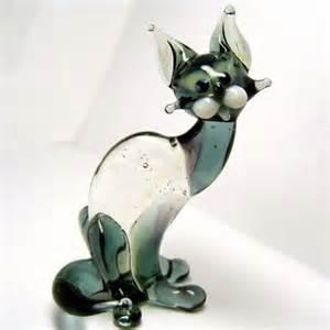 glass cat figurines cat glass figurine glass