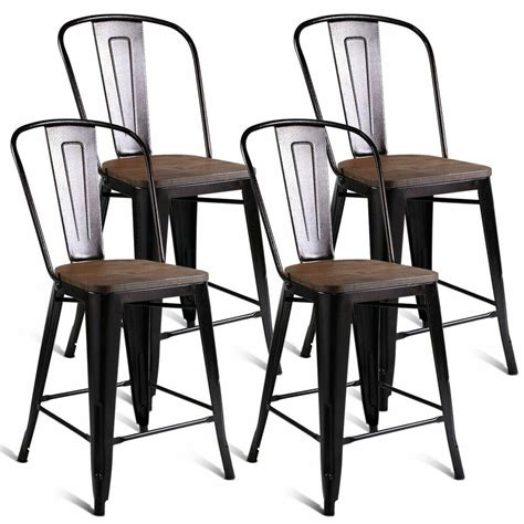 copper set   metal wood counter stool kitchen dining
