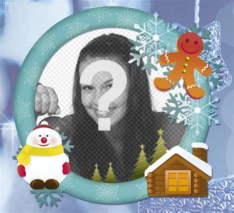 cornice di natale per foto cornice per foto in linea con la neve per la scheda di
