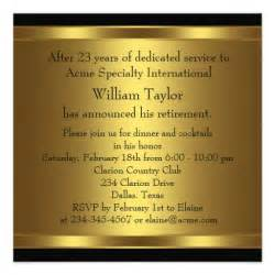 custom invitation mens retirement party invitation black and gold