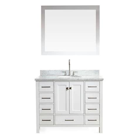 ariel cambridge   vanity  white  marble vanity top  carrara white  white basin