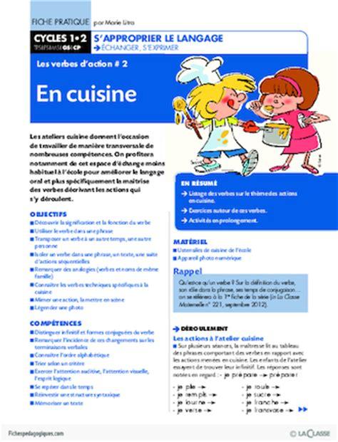 verbe de cuisine les verbes d 39 2 en cuisine fichespédagogiques com