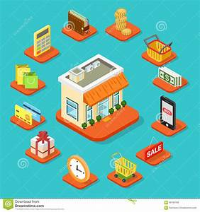 Set Online Shop : shop store building shopping infographic icon flat 3d isometric stock photo image 66180768 ~ Orissabook.com Haus und Dekorationen