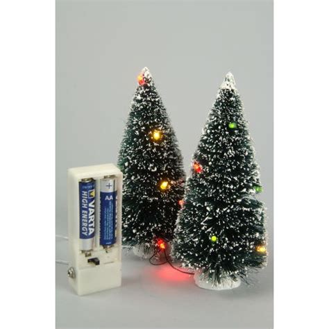 lumineo pair of 10 led miniature trees