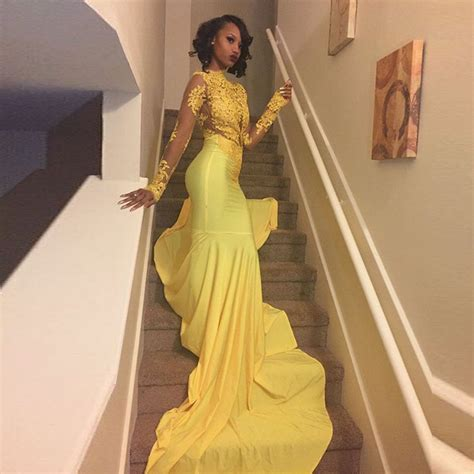 Sexy African Black Girl Yellow Mermaid Prom Dresses 2017 Court Train Appliques Lace Long Sleeve ...