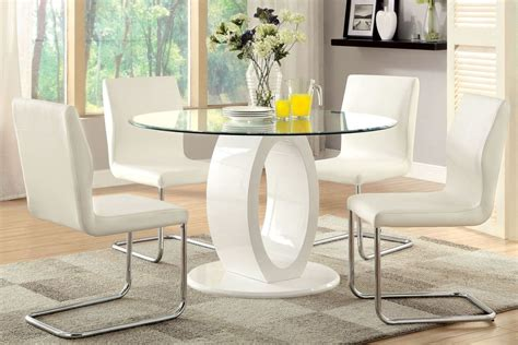 lodia  white glass top  pedestal dining room set