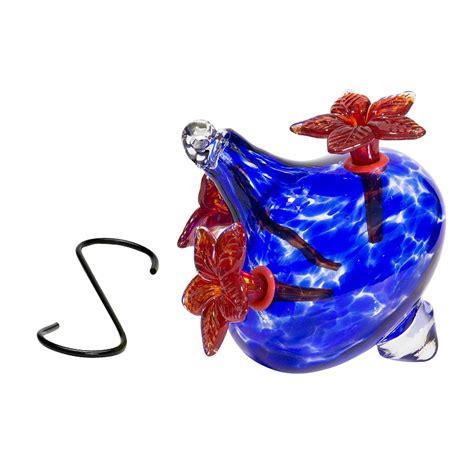 blown glass hummingbird feeder flower vase  blue