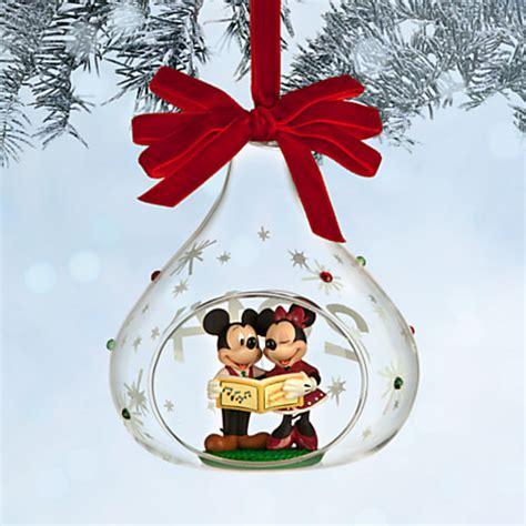 disney christmas ornament mickey  minnie mouse glass
