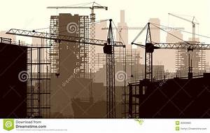 Illustration Of Construction Site With Crane And Building ...