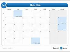 Calendário maio 2018