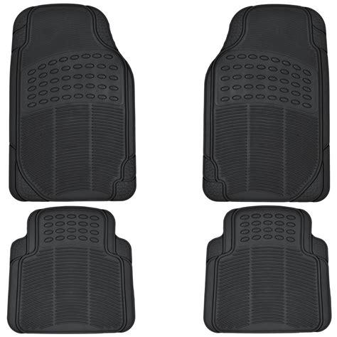 rubber car floor mats heavy duty all season weather rubber black 4 pc set car