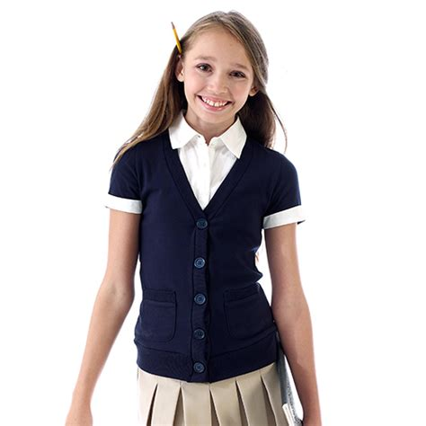 girls   french toast school uniforms mock cardigan