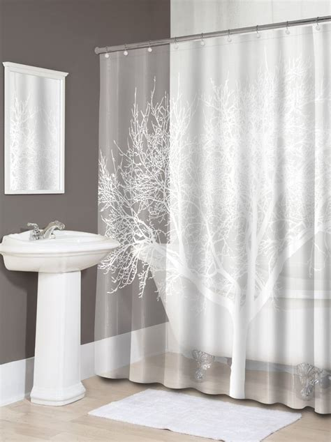 pearl white home tree vinyl shower curtain modern bathroom