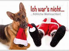 Doppelkarte Weihnachtskarte Schäferhund mit Nikolaus 'Ich