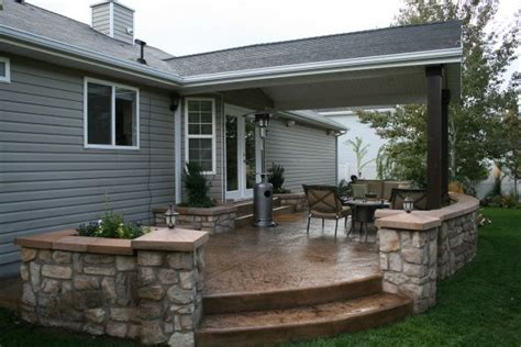 Outdoor Covered Patio, Covered Stamped Concrete Patio With