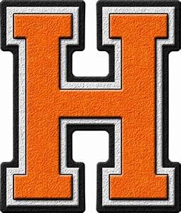 presentation alphabets orange varsity letter h With varsity letters