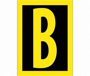 letter b 15 high visibility yellow black ps vinyl With reflective adhesive letters