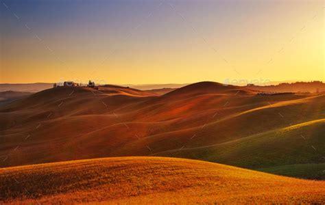 tuscany sunset rural landscape rolling hills