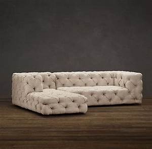 soho tufted upholstered left arm sofa chaise sectional With restoration hardware tufted sectional sofa