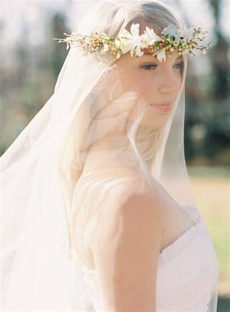Diy Wedding Flower Crown Over A Drop Veil Once Wed
