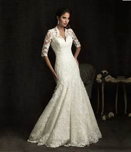 elegant sheer short sleeve lace mermaid wedding dress 2015 With v neck wedding dress with sleeves