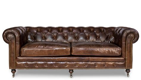 distressed brown leather sofa chesterfield top grain cigar brown distressed leather