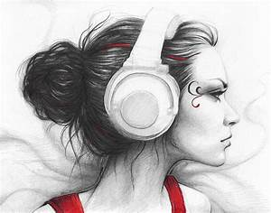 I Love Music Drawing by Olga Shvartsur