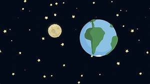 Cartoon Earth and Moon from Space with Starry Night Motion ...