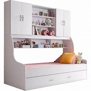 Lit enfant blanc 90x200 avec tiroir et rangement mural for Chambre design avec matelas revor avis