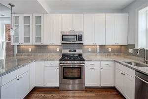 White cabinets grey backsplash kitchen subway tile outlet for Backsplash for kitchen with white cabinet