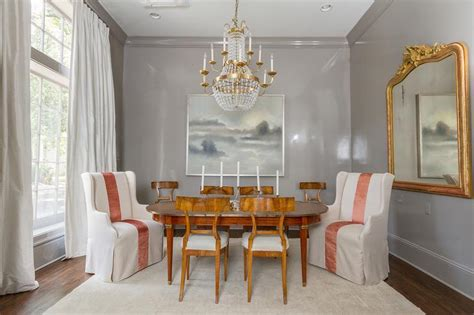 gray dining room  gray crown moldings french
