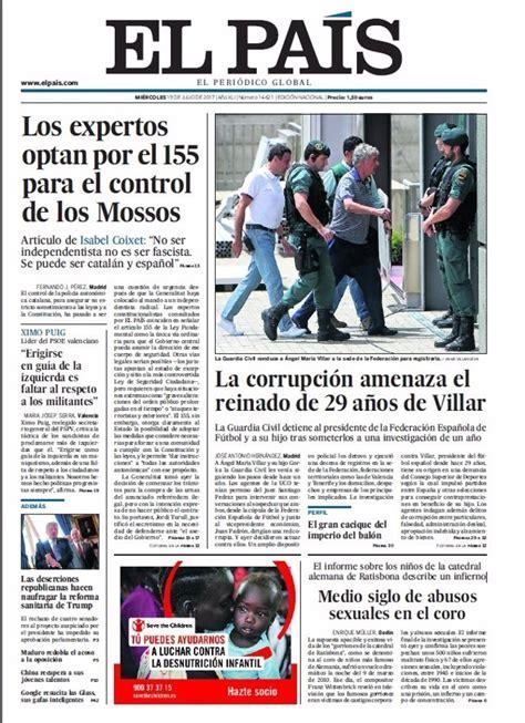 Las portadas de los periódicos de hoy, miércoles 19 de ...