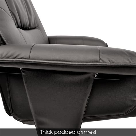 pu leather wood arm lounge chair recliner ottoman office