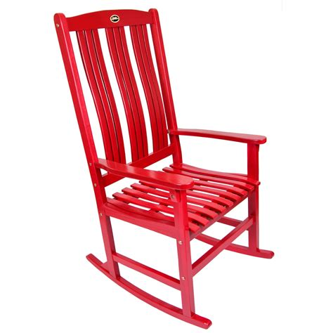 shop red wood slat seat outdoor rocking chair  lowescom