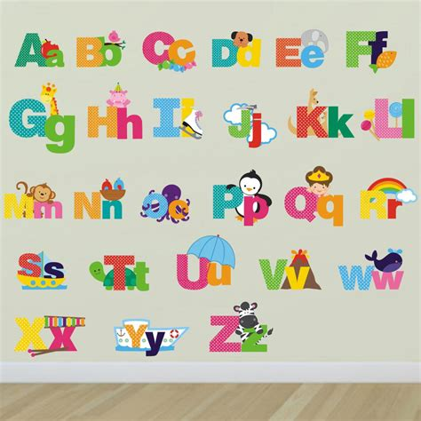 stickers muraux lettres alphabet picture alphabet letters wall stickers alphabet wall decals