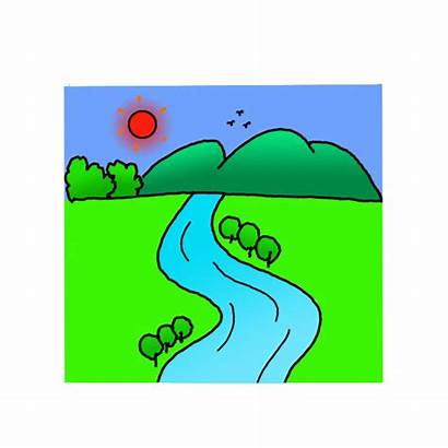 River Draw Drawing Easy Step Scenery Colored