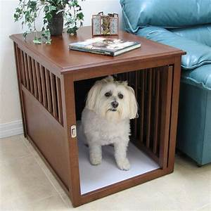 large indoor wooden pet crate table furniture small dog With small dog crate furniture