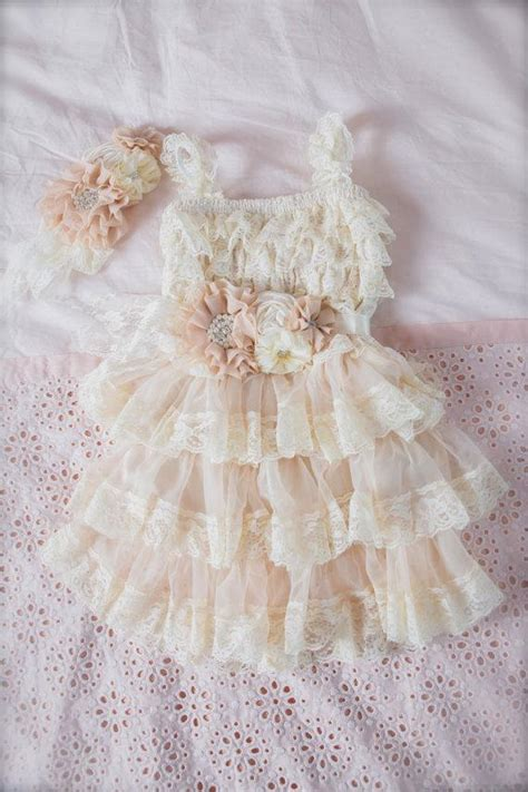 shabby chic baby dress chagne lace flower girl dress ivory lace baby doll dress vintage wedding shabby chic flower