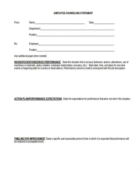 employee statement form sle employee statement form 10 free documents in