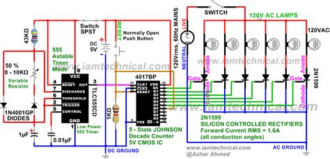 Disco Running Light Circuit Using Thyristor Scr