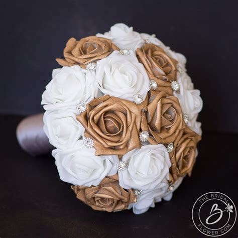 rose gold wedding bouquet simple  silver gems