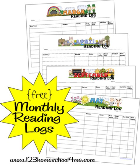 Free Monthly Reading Logs  Free Homeschool Deals