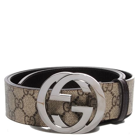 GUCCI GG Plus Monogram Interlocking G Belt 100 40 Brown 95396