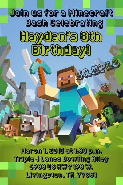minecraft forge birthday invitations
