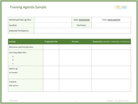 training agenda template for word free training agenda template for word effective agendas