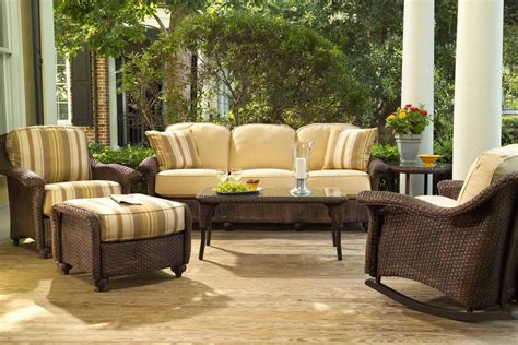 Classic porch furniture arrangement — a sofa & two chairs. Closeout Outdoor Furniture Patio Modern And Home Depot Electric Fireplaces Clearance Swing Sets ...