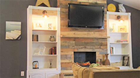 diy reclaimed wood  pallet fireplace surrounds
