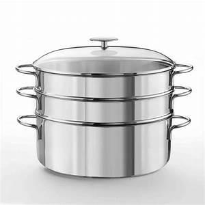 Cuit Vapeur Inox : cristel cuit vapeur ovale 30 cm inox avec 2 paniers ~ Melissatoandfro.com Idées de Décoration