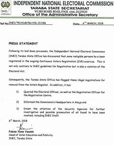 INEC uncovers registration of ineligible persons in Taraba ...