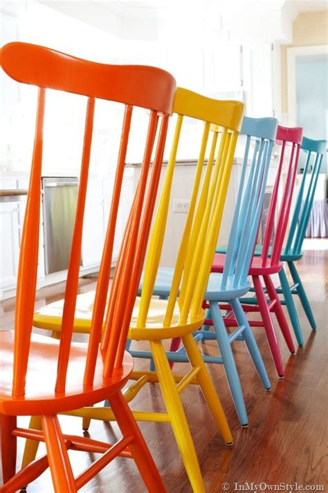 kitchen chairs painted different colors furniture makeover spray painting wood chairs in my own 8210